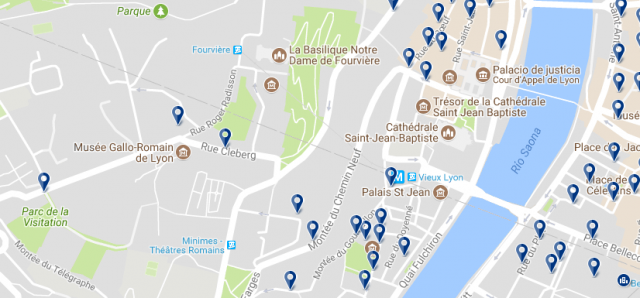 Staying in Vieux Lyon - Click on the map to see all available accommodation in this area