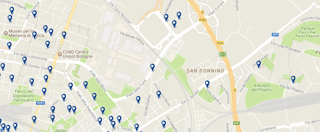 Staying around Bologna Fiere - Click on the map to see all accommodation in this area