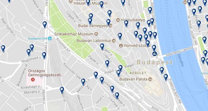 Accommodation in Budavár - Click on the map to see all available accommodation in this area