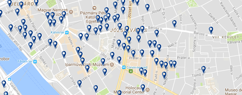 Accommodation in Józsefváros - Click on the map to see all available accommodation in this area