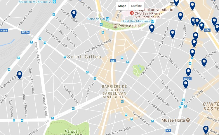 Accommodation in Saint-Gilles - Click on the map to see all available accommodation in this area