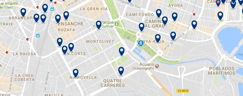 Accommodation around Ciudad de las Artes y las Ciencias - Click on the map to see all available accommodation in this area