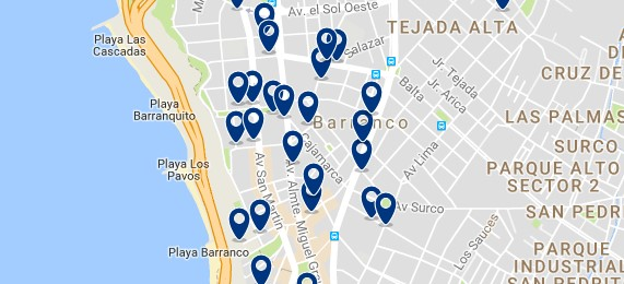 Accommodation in Barranco - Click on the map to see all available accommodation in this area
