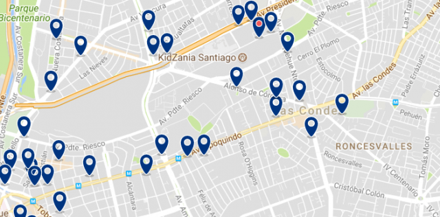 Accommodation in Las Condes - Click on the map to see all available accommodation in this area