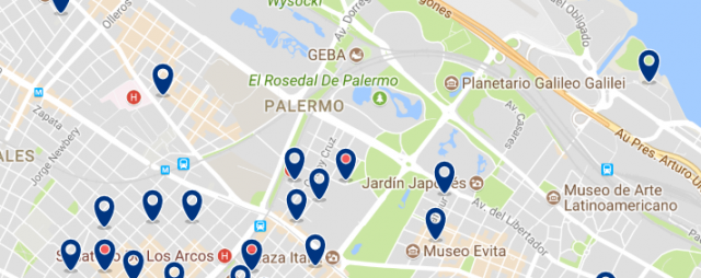 Accommodation in Recoleta & Bellavista - Click on the map to see all available accommodation in this area