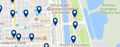 Accommodation in Puerto Madero - Click on the map to see all available accommodation in this area