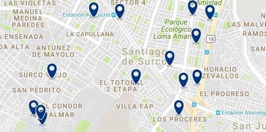 Accommodation in Santiago de Surco - Click on the map to see all available accommodation in this area