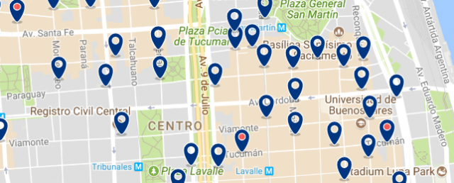Accommodation in Retiro and Microcentr - Click on the map to see all available accommodation in this area