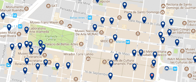 Best areas to stay in Mexico City - Centro Histórico - Click on the map to see all available accommodation in this area