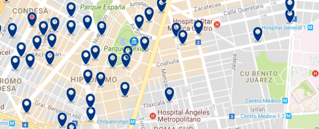 Where to stay in Mexico City - Condesa - Click on the map to see all available accommodation in this area