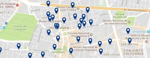 Mexico City - Coyoacán - Click on the map to see all available accommodation in this area