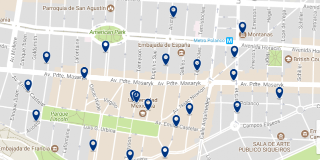 Accommodation in Mexico City - Polanco - Click on the map to see all available accommodation in this area