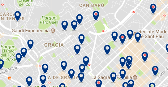 Accommodation in Gràcia - Click on the map to see all available accommodation in this area