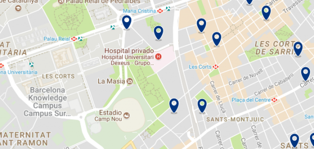 Accommodation in Les Corts - Click on the map to see all available accommodation in this area