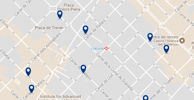Accommodation in Poblenou - Click on the map to see all available accommodation in this area