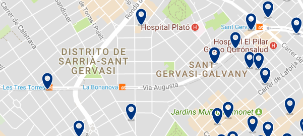 Accommodation in Sarrià-Sant Gervasi - Click on the map to see all available accommodation in this area
