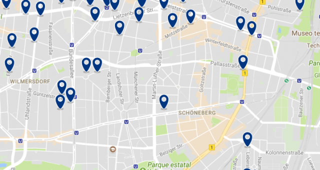 Stay in Schöneberg - Click on the map to see all available accommodation in this area