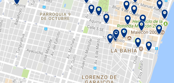 Accommodation near Guayaquil City Center - Click on the map to see all available accommodation in this area