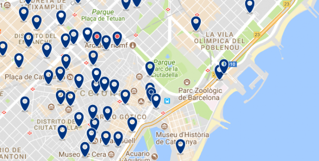 Accommodation in Barceloneta - Click on the map to see all available accommodation in this area