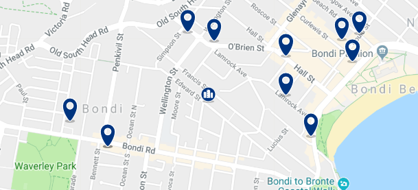 Accommodation near Bondi Beach - Click on the map to see all accommodation in this area