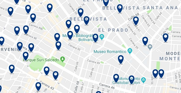 Accommodation in El Prado - Click on the map to see all available accommodation
