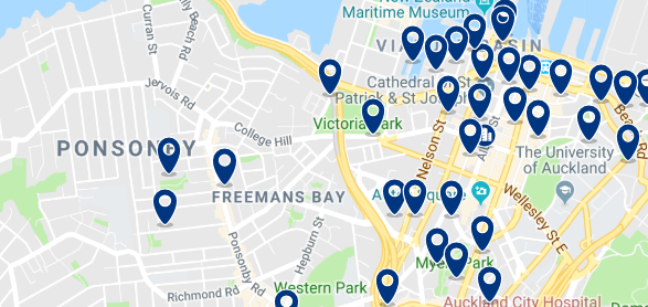 Accommodation in Ponsonby - Click on the map to see all available accommodation in this area