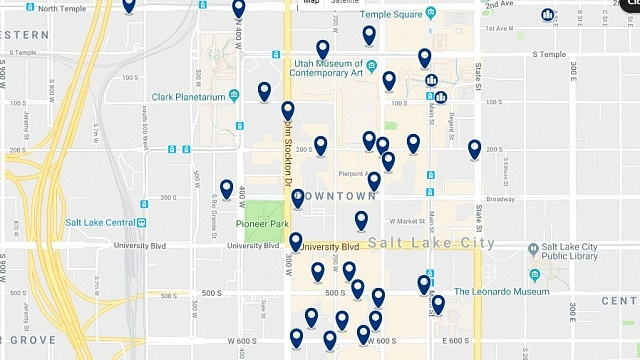 Accommodation in Downtown SLC - Click on the map to see all accommodation in this area