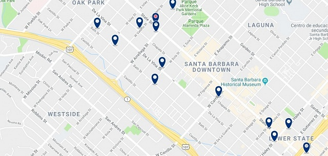 Accommodation in Downtown Santa Barbara - Click on the map to see all available accommodation in this area