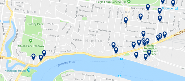 Accommodation in Hamilton - Click on the map to see all accommodation in this area