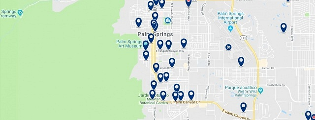 Accommodation in Palm Springs - Click on the map to see all available accommodation in this area