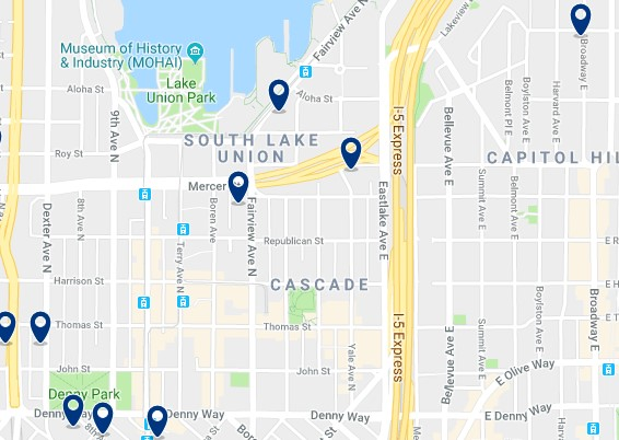 Accommodation in South Lake Union - Click on the map to see all available accommodation in this area