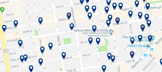 Accommodation in Tenderloin - Click on the map to see all available accommodation in this area