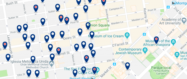 Accommodation in Union Square - Click on the map to see all available accommodation in this area