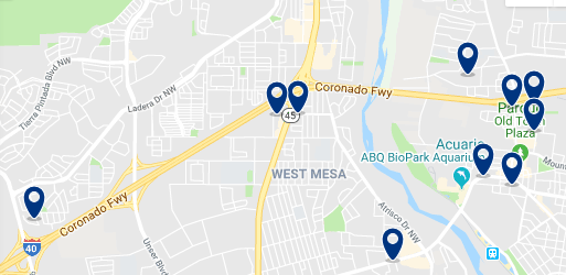 Accommodation in West Albuquerque – Click on the map to see all available accommodation in this area