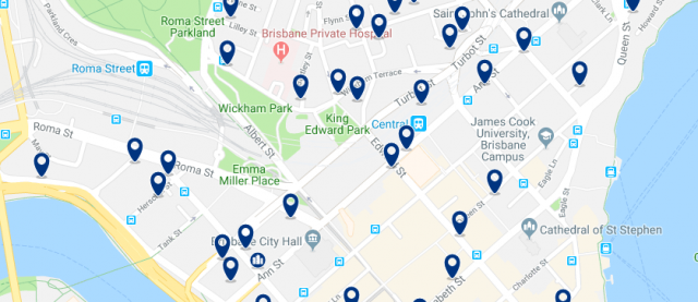 Accommodation in Brisbane's CBD - Click on the map to see all accommodation in this area