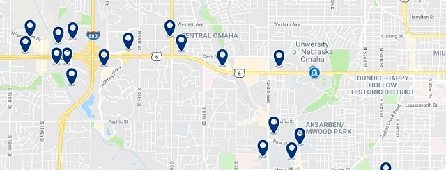 Accommodation near the University of Nebraska - Click on the map to see all available accommodation in this area
