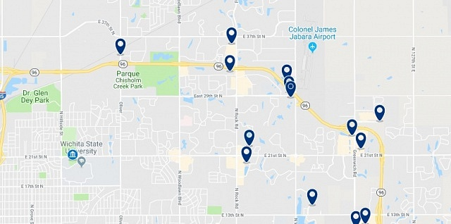 Accommodation near Wichita State University - Click on the map to see all accommodation in this area