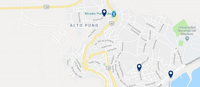 Accommodation in Alto Puno - Click on the map to see all accommodation in this area