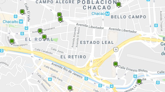 Acoommodation in Chacao - Click on the map to see all available accommodation in this area