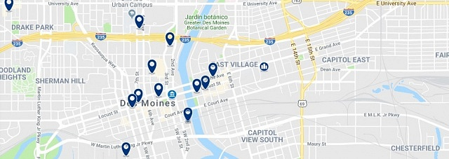 Accommodation in Downtown Des Moines - Click on the map to see all available accommodation in this area