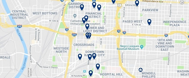 Accommodation in Downtown Kansas City - Click on the map to see all accommodation in this area