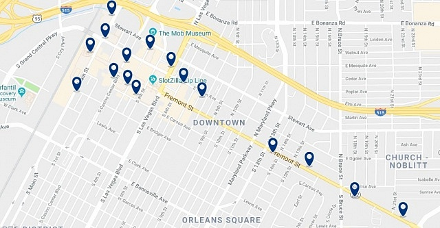 Accommodation in Downtown Las Vegas - Click on the map to see all available accommodation in this area