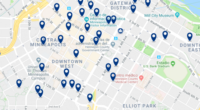 Accommodation in Downtown Minneapolis- Click on the map to see all available accommodation in this area
