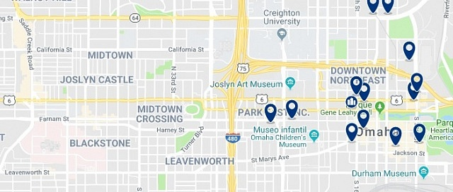 Accommodation on Downtown Omaha  - Click on the map to see all available accommodation in this area
