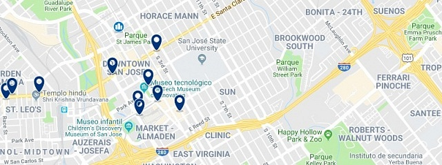 Accommodation in Downtown San Jose - Click on the map to see all available accommodation in this area