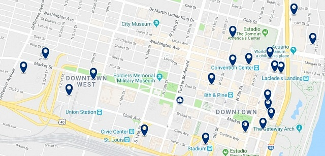 Accommodation in Downtown St. Louis - Click on the map to see all available accommodation in this area
