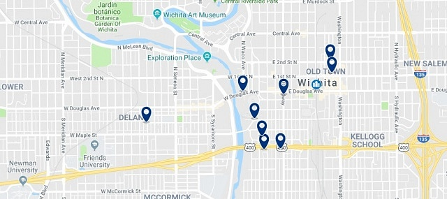 Accommodation in Downtown Wichita - Click on the map to see all accommodation in this area