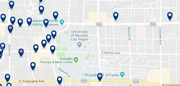 Accommodation in East of The Strip - Click on the map to see all available accommodation in this area