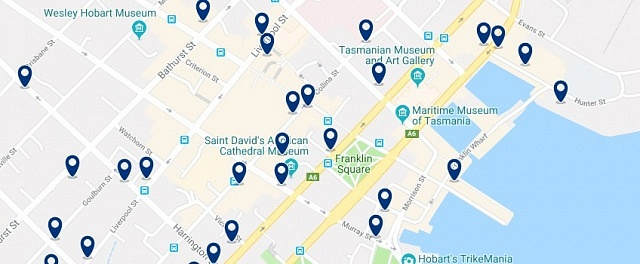 Accommodation in Hobart CBD - Click on the map to see all accommodation in this area