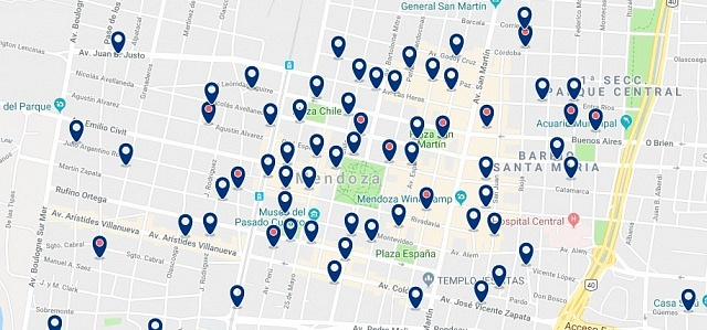 Accommodation in Mendoza Centro - Click on the map to see all available accommodation in this area